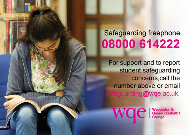 WQE Safeguarding freephone and email details aside photo of girl reading